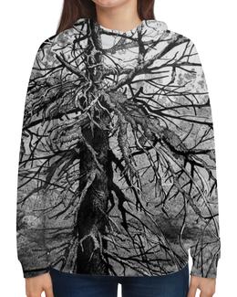 """Толстовка с полной запечаткой (Женская) """"""""Старое дерево"""""""" - лес, графика, дерево, чернобелое, forest"""