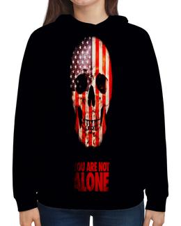 """Толстовка с полной запечаткой """"You are not alone"""" - череп, америка, кости, надписи, флаг"""
