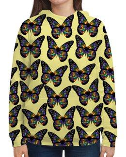 """Толстовка с полной запечаткой """"Бабочки"""" - бабочка, цветок, животные, девушкам, природа"""