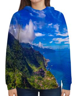 """Толстовка с полной запечаткой """"Остров"""" - облака, природа, горы, пейзаж, скалы"""