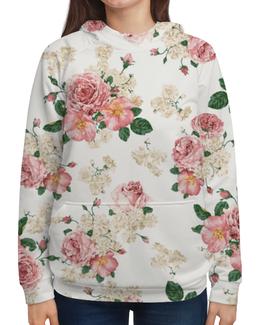 """Толстовка с полной запечаткой (Женская) """"Цветы"""" - цветок, роза, букет, шиповник, бутон"""