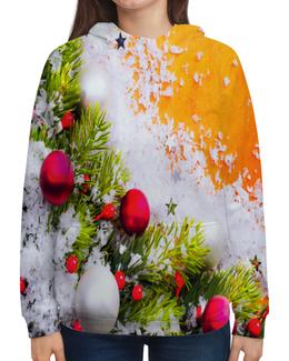 """Толстовка с полной запечаткой """"Игрушки на елке"""" - праздник, новый год, снег, игрушки, елка"""