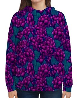 """Толстовка с полной запечаткой """"виноград"""" - ягоды, природа, фиолетовый, плоды, листья"""
