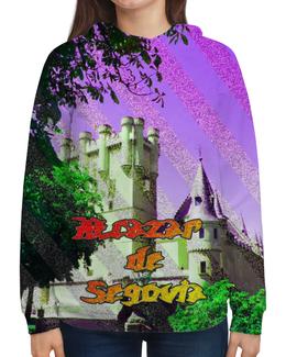 """Толстовка с полной запечаткой (Женская) """"Замки Испании.Крепость Сеговия."""" - сиреневый, фиолетовый, испания, полоски, крепость"""