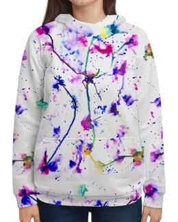 """Толстовка с полной запечаткой (Женская) """"Фиолетовое притяжение"""" - цвета, фиолетовый, краски, абстракция, линиии"""