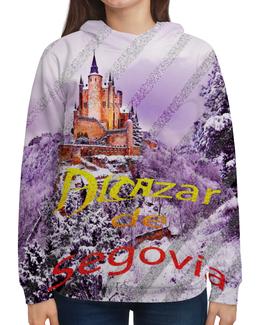 """Толстовка с полной запечаткой (Женская) """"Испанский замок Сеговия."""" - красный, фиолетовый, испания, полоски, крепость"""