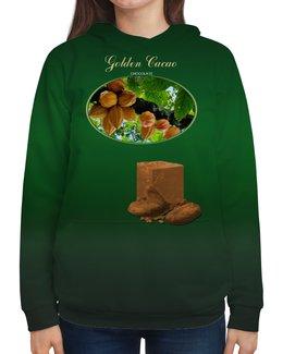 """Толстовка с полной запечаткой """"Golden Cacao"""" - любовь, юмор, счастье, шоколад, chocolate"""