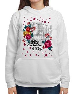 """Толстовка с полной запечаткой """"Город"""" - цветы, город"""