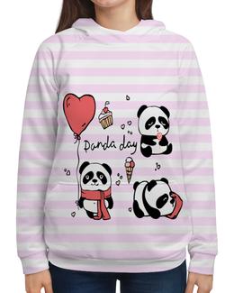 "Толстовка с полной запечаткой ""panda day"" - сердце, heart, панда, panda, loves"