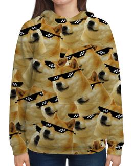 """Толстовка с полной запечаткой """"Doge meme, deal with it очки"""" - мемы, doge, сиба ину, deal with it очки"""
