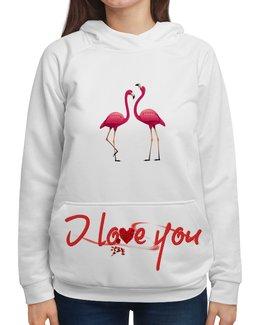 """Толстовка с полной запечаткой """" love you.ПАРА ПРЕКРАСНЫХ РОЗОВЫХ ФЛАМИНГО"""" - сердце, любовь, love you, розовый фламинго, святого валентина"""
