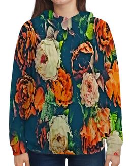 """Толстовка с полной запечаткой """"Flowers"""" - цветы, узор, весна, цветочки, пионы"""