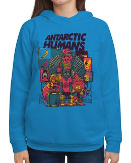 """Толстовка с полной запечаткой (Женская) """"Antarctic Humans"""" - животные, обезьяна, рок музыка, рок группа, арт прикол"""
