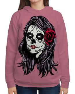 """Толстовка с полной запечаткой (Женская) """"Skull Girls"""" - skull, череп, роза, кости, bone"""