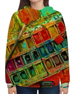 """Толстовка с полной запечаткой (Женская) """"""""Акварельные краски"""""""" - искусство, разноцветный, акварель, художник, пестрый"""