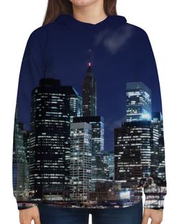 """Толстовка с полной запечаткой """"Ночной Город"""" - арт, страны, города, дизайн"""