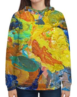 """Толстовка с полной запечаткой (Женская) """"""""Краска на палитре"""""""" - желтый, искусство, разноцветный, яркий, художник"""