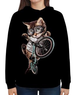"""Толстовка с полной запечаткой """"Кот BMX"""" - приколы, спорт, коты, bmx, велосипед"""