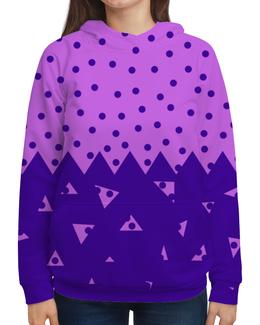 """Толстовка с полной запечаткой """"Падающие треугольники"""" - сиреневый, фигура, фиолетовый, треугольник, горох"""