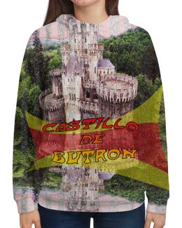 """Толстовка с полной запечаткой (Женская) """"Замки Испании. Замок Бутрон"""" - красный, испания, полоски, крепость, испанский флаг"""