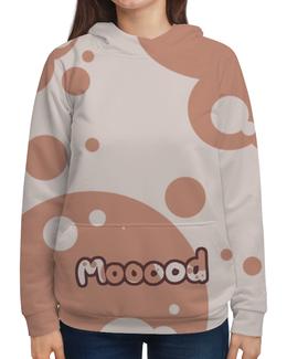 """Толстовка с полной запечаткой """"Mooood"""" - настроение, коровка"""