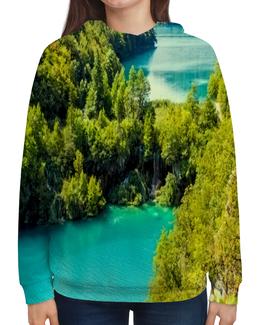 """Толстовка с полной запечаткой """"Природа"""" - природа, страны, красота, лето, водопад"""