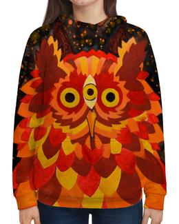 """Толстовка с полной запечаткой (Женская) """"Осенняя сова"""" - листья, осень, лес, сова, акварель"""