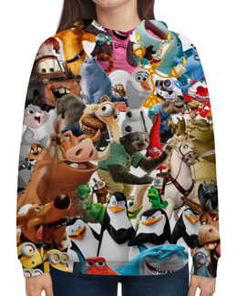 """Толстовка с полной запечаткой (Женская) """"Cartoons"""" - мультяшки, мультфильм, для детей, персонажи, pixar"""