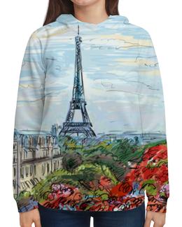 "Толстовка с полной запечаткой ""Эйфелева башня"" - графика, франция, париж, эйфелева башня"