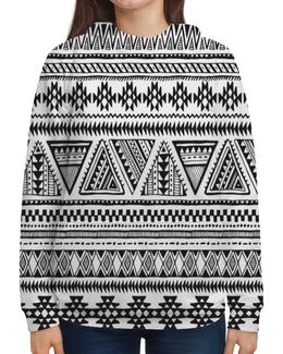 """Толстовка с полной запечаткой """"Черно-белая графика"""" - узор, графика, орнамент, треугольники, этнический"""