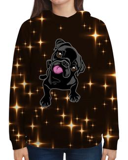 """Толстовка с полной запечаткой """"Черный пес"""" - собака, животные, пес, год собаки, звезды"""