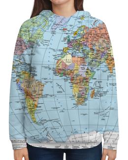 """Толстовка с полной запечаткой """"Карта мира"""" - мир, страны, карта, политика, география"""