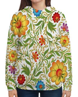"""Толстовка с полной запечаткой """"Цветочный узор"""" - цветы, узор, листья, хохлома, роспись"""