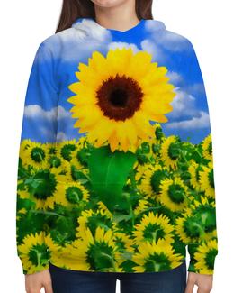 """Толстовка с полной запечаткой (Женская) """"Солнечный цветок"""" - цветок, желтый, небо, облака, подсолнух"""