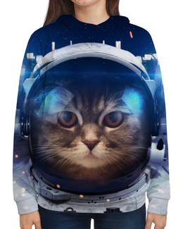 """Толстовка с полной запечаткой (Женская) """"Котосмонавт"""" - кот, космос, животное, костюм"""