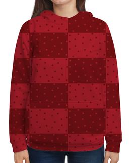 """Толстовка с полной запечаткой """"Красный геометрический узор"""" - красный, яркий, горох, прямоугольник, оттенок"""