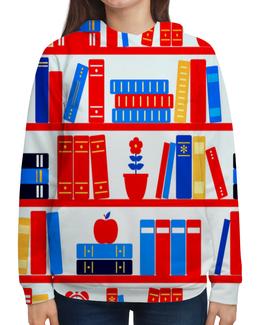 """Толстовка с полной запечаткой """"Книги"""" - книги, полка, будильник, цветы, яблоко"""