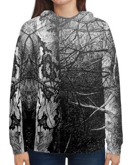 """Толстовка с полной запечаткой (Женская) """"""""Уральский лес"""""""" - лес, дерево, чернобелое, forest, урал"""
