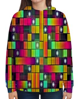 """Толстовка с полной запечаткой """"Графика"""" - цветные, квадраты, круги, узоры, графика"""