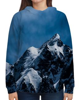 """Толстовка с полной запечаткой """"Снег в горах"""" - снег, небо, природа, горы, пейзаж"""
