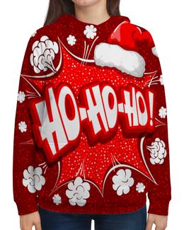 """Толстовка с полной запечаткой """" Ho Ho Ho"""" - рождество, новый год, зима, красный, санта"""