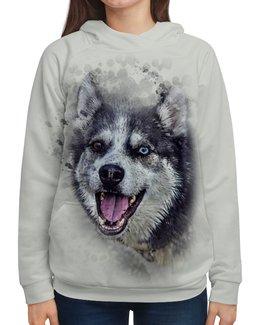 """Толстовка с полной запечаткой """"Хаска"""" - животные, пес, собака, природа, хаска"""