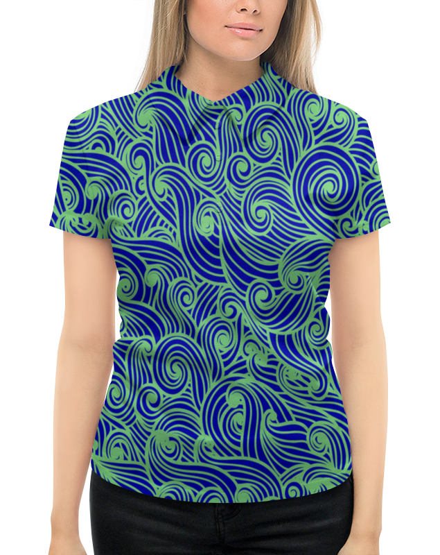 Рубашка Поло с полной запечаткой Printio Морская волна слитный купальник с плотной формованной чашкой costa rica lisca цвет морская волна