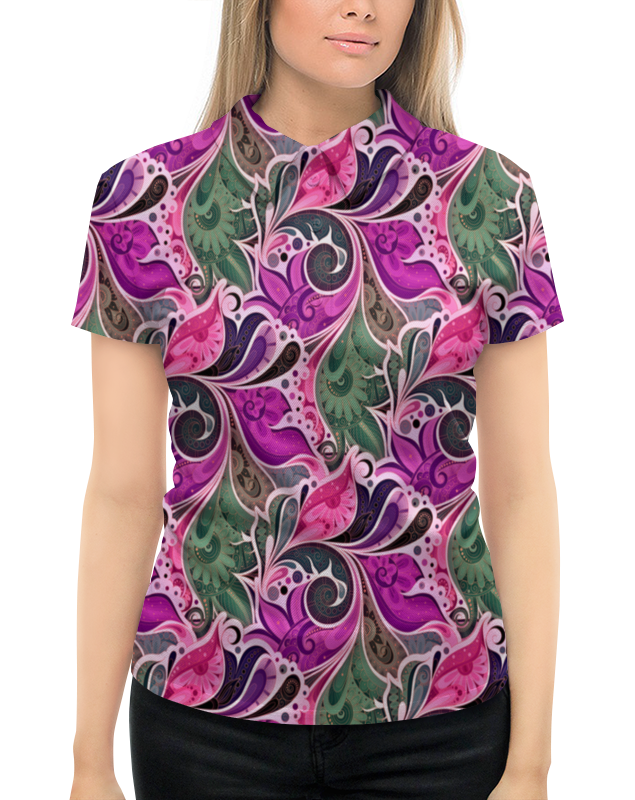 Printio Цветы расписные рубашка поло с полной запечаткой printio расписные листья