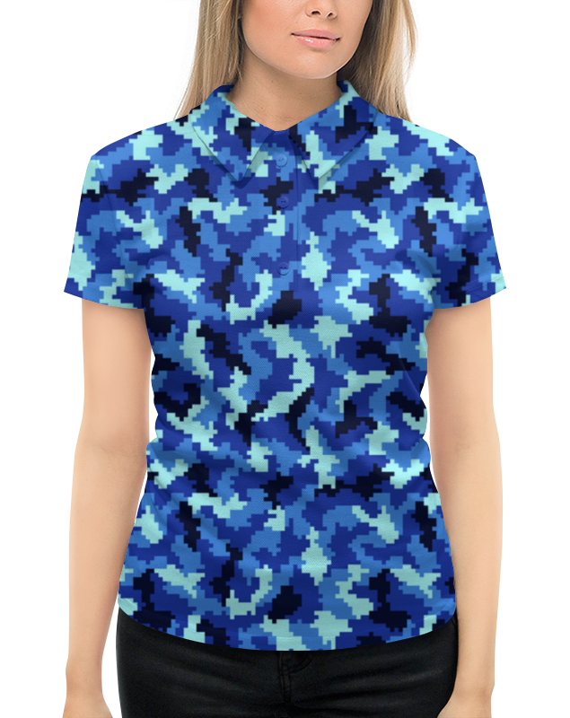 Рубашка Поло с полной запечаткой Printio Голубой камуфляж