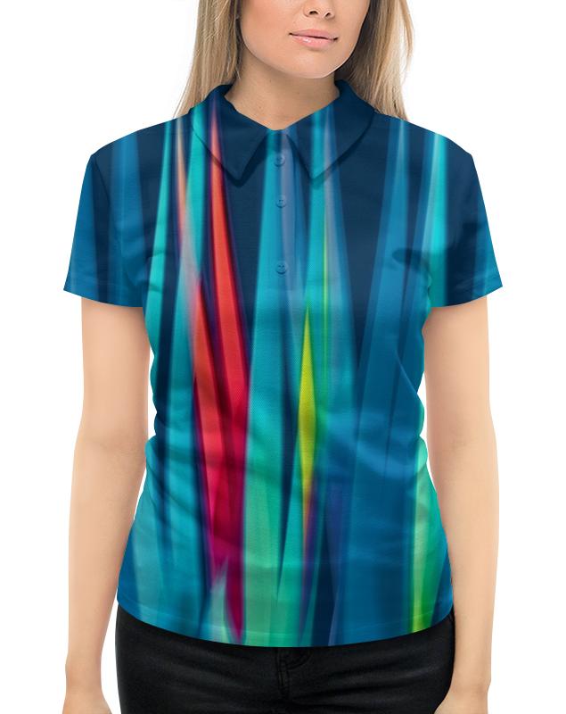Рубашка Поло с полной запечаткой Printio Синие линии цена