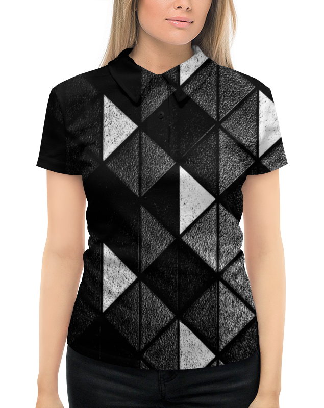 Рубашка Поло с полной запечаткой Printio Черно-белые фигуры
