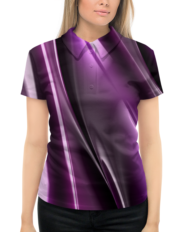Рубашка Поло с полной запечаткой Printio Фиолетовые линии футболка с полной запечаткой женская printio фиолетовые линии