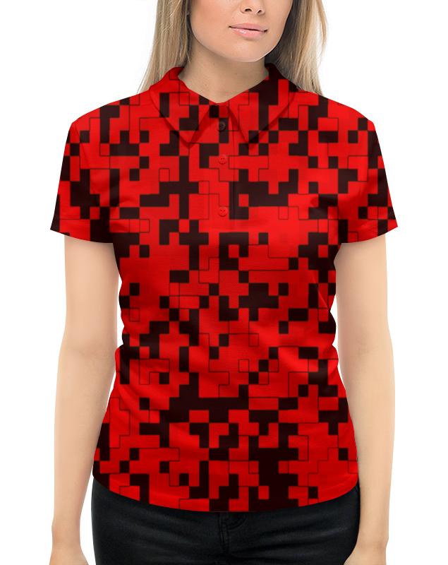 Рубашка Поло с полной запечаткой Printio Красный камуфляж