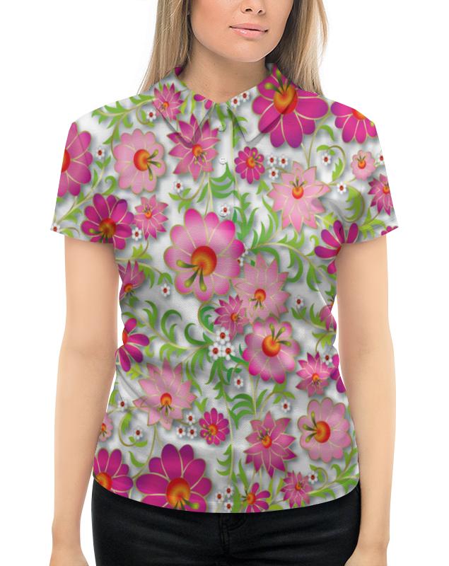 Рубашка Поло с полной запечаткой Printio Розовые цветы невидимка для волос funny bunny розовые цветы 2 шт